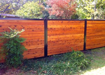 Horizontal Wood Privacy Fence With Metal Posts