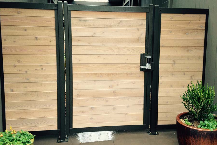 Wood Privacy Fence Gate With Metal Frame