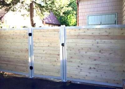 Horizontal Wood & Metal Privacy Fence With Gate