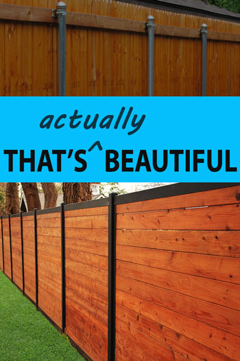 Wood Fence with Metal Posts That's Beautiful