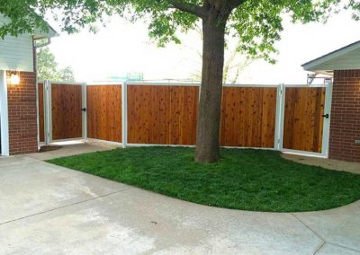 White Metal Frame Privacy Fence With Gates