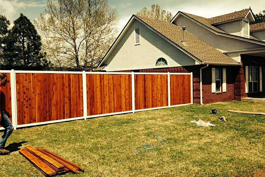 White Metal Frame Privacy Fence