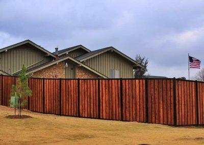 Wood & Black Iron Fence